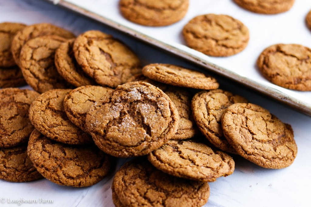Pile of molasses ginger cookies.