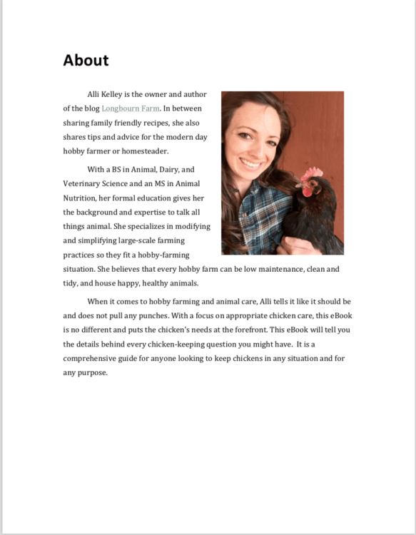 About page for the eBook, The Ultimate Guide to Keeping Chickens