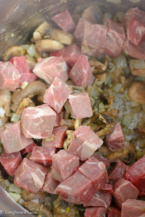 Beef in the instant pot with all the other instant pot beef stroganoff ingredients.