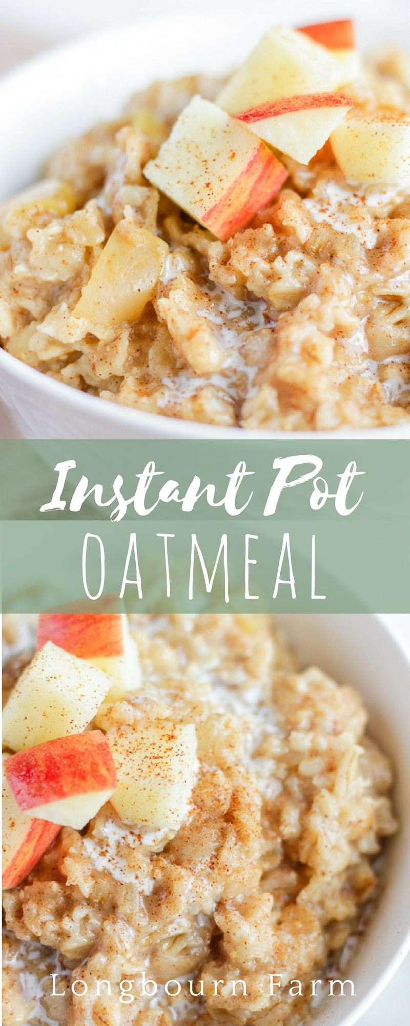 Apple cinnamon Instant Pot Oatmeal is a delicious breakfast that cooks in just 3 minutes! An easily customizable base oatmeal recipe that is easy to make and keep warm before the kids wake up for a good breakfast on a busy morning!