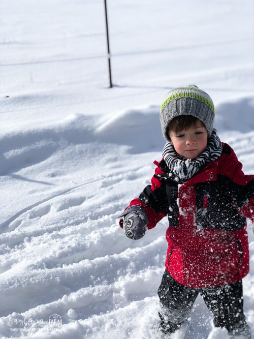 Abram playing outside in the deep snow.