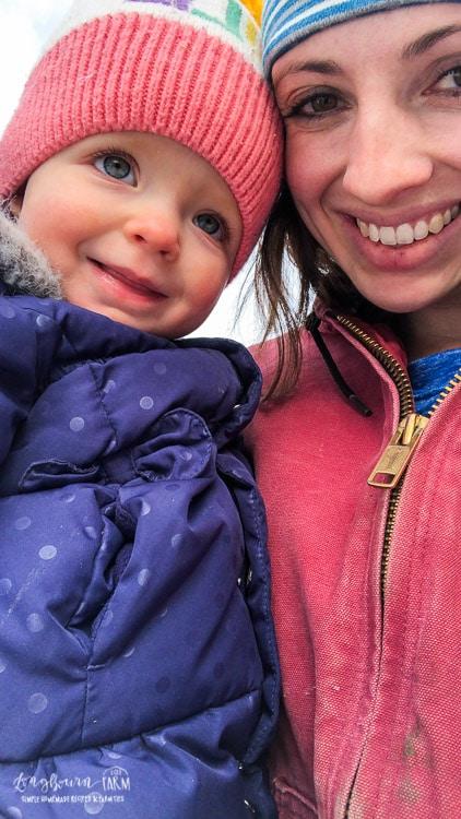 Mommy and Aspen selfie outside.