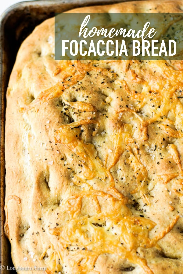 This Homemade Focaccia Recipe is simple to make and tastes AMAZING! Not just bread with olive oil, this dough is infused with Italian flavor and topped with even more. Homemade focaccia is the perfect side dish for any Italian meal! #homeade #bread #homemadebread #focaccia #focacciabread #baking #bakingbread