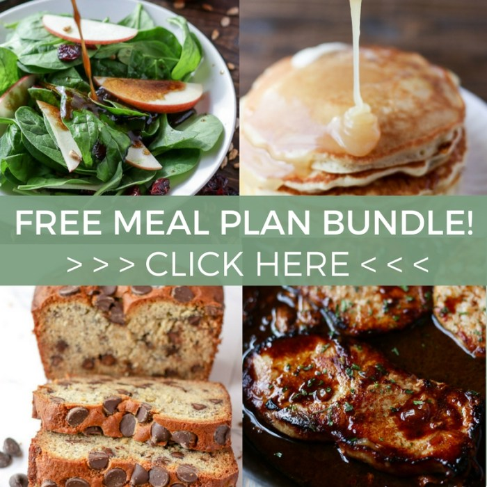 """4 food pictures overlayed with the text, """"Free Meal Plan Bundle! Click here."""""""