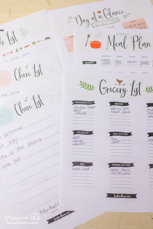 Grocery and food lists from the Farmer's Friend Farm Planner.