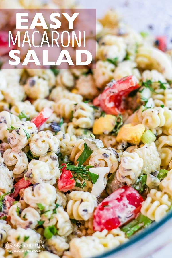 This macaroni salad recipe is a family favorite. It's easy to make and customize to your own tastes! This simple and flavorful macaroni salad is a summer classic. #longbournfarm #macaroni #pasta #pastasalad #macaronisalad #summersalad #coldpastasalad #pastasaladrecipe #macaronisaladrecipe #easypastasalad #easymacaronisalad