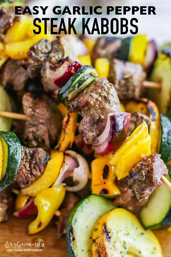 Make a quick dinner or super easy appetizer with these steak kabobs!! Seasoned with Redmond Real Salt's Garlic Pepper, they are incredibly flavorful and easy! #longbournfarm #steak #kabobs #sishkabob #steakkabob #garlic #pepper #garlicpepper #garlicsteak #peppersteak #veggies #veggiekabob #vegetables #vegetableseasoning