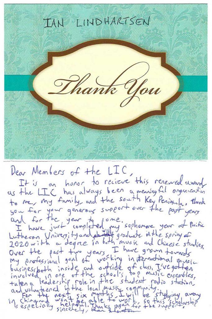 LIC scholarship thank you note Ian Lindhartsen