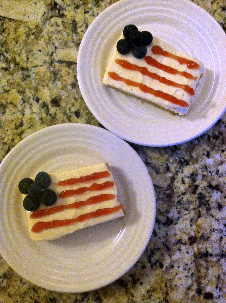 American Flag No-Bake Cheesecake Bars