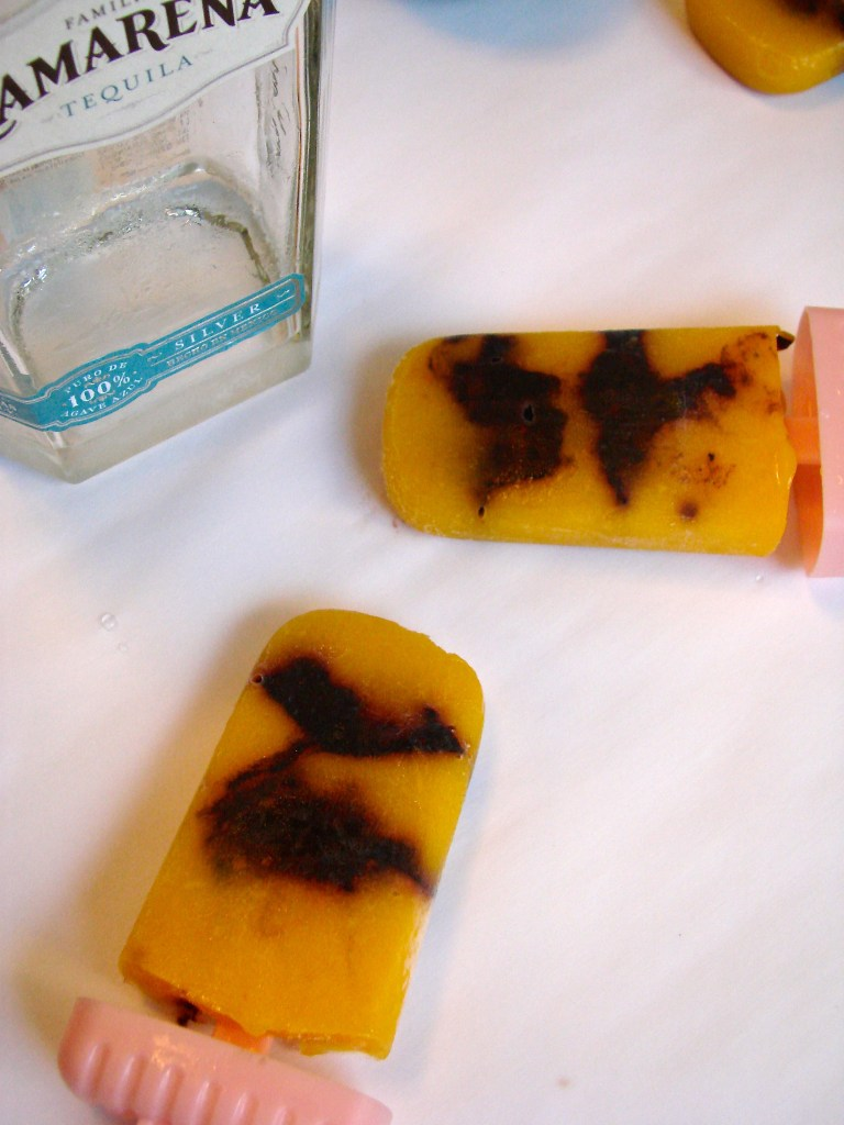 Mango Blackberry Tequila Popsicles