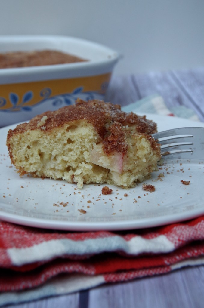 Cinnamon Apple Coffee Cake - made with sour cream so it stays moist and fluffy! | longdistancebaking.com