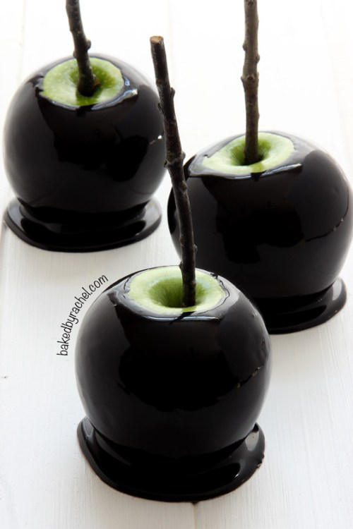 Spooky Black Caramel Apples by Baked by Rachel