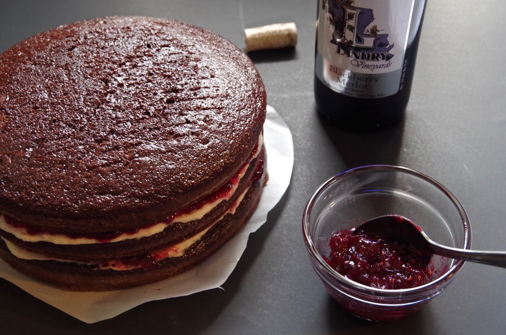 Red Wine Chocolate Cake with Raspberry Buttercream | longdistancebaking.com