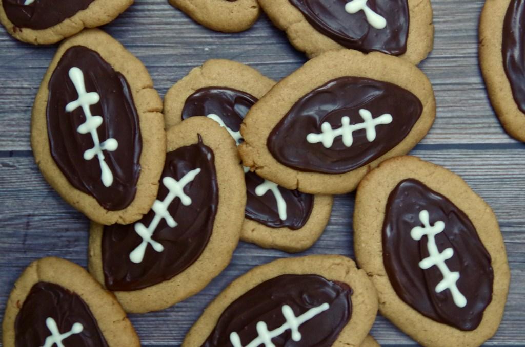 Peanut Butter Chocolate Football Cookies