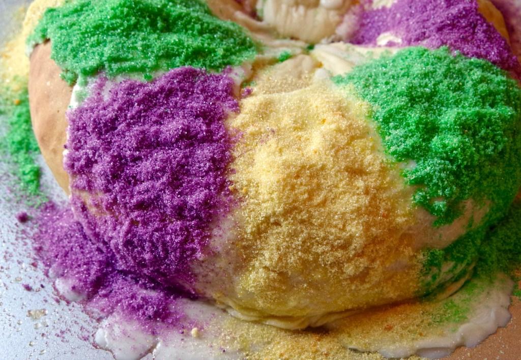 Mardi Gras King Cake with Cream Cheese | longdistancebaking.com