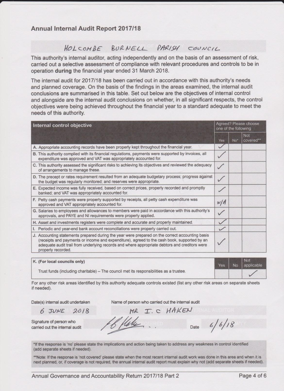 Annual Internal Audit form 2017-18