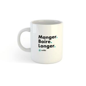 Mug céramique «Manger, Boire, Longer» Blanc , Anfibi