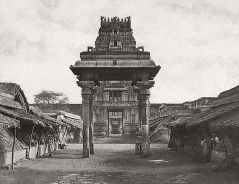 Linnaeus Tripe (British, Devonport (Plymouth Dock) 1822–1902 Devonport) Seeringham. [Great Pagoda,] Munduppum (four pillared) inside gateway., 1858 Lightly albumenized Salted paper print; image: 27.1 × 35.1 cm (10 11/16 × 13 13/16 in.) page size: 43.7 × 55.9 cm (17 3/16 × 22 in.) The Metropolitan Museum of Art, New York, (LT.BL.3) http://www.metmuseum.org/Collections/search-the-collections/643443