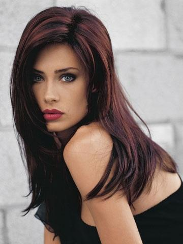 dark hair with red highlights long hairstyles how to