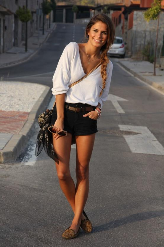 casual black shorts outfit  Long Hairstyles How To