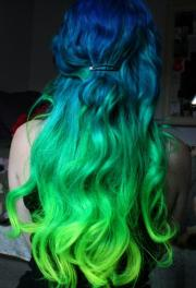 blue green dyed hair long hairstyles