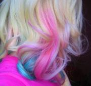 pink & blue curly tips long hairstyles