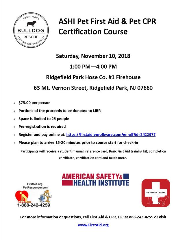 Pet First Aid And Cpr 111018 Ridgefield Park Nj 1 4pm