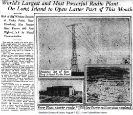 Opening of Radio Central in 1921 from the Brooklyn Standard Union.