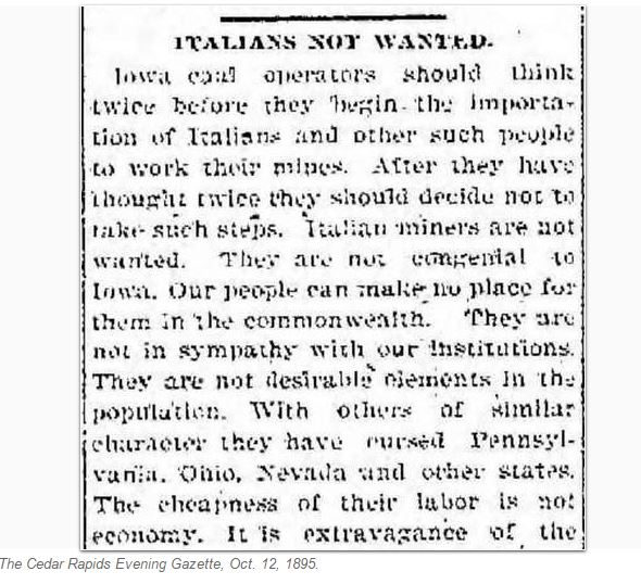 Newspaper Reprints 1895 Editorial Warning Against Italian