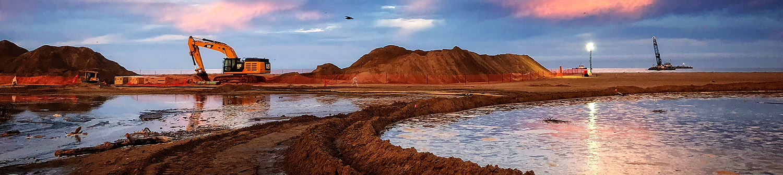 Longitude 123 Excavator at Sunset
