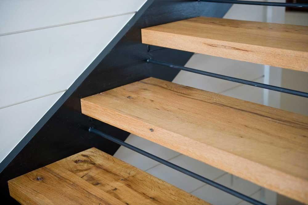 Longleaf Lumber Custom Reclaimed Wood Stair Treads Mouldings   Custom Wood Stair Treads   Solid Wood   Reclaimed Wood   Red Oak Stair   Slate Tile   Los Angeles