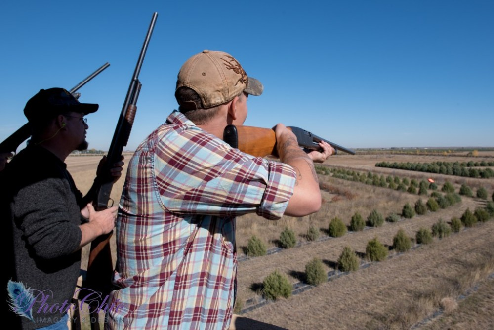 Men at a shooting clays course