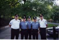Sergeant Mellis, Officer Fullerton, Officer Porada, Officer Parsons and Sergeant Scott outside the White House in Washington DC for Police Memorial Week early 1990's.