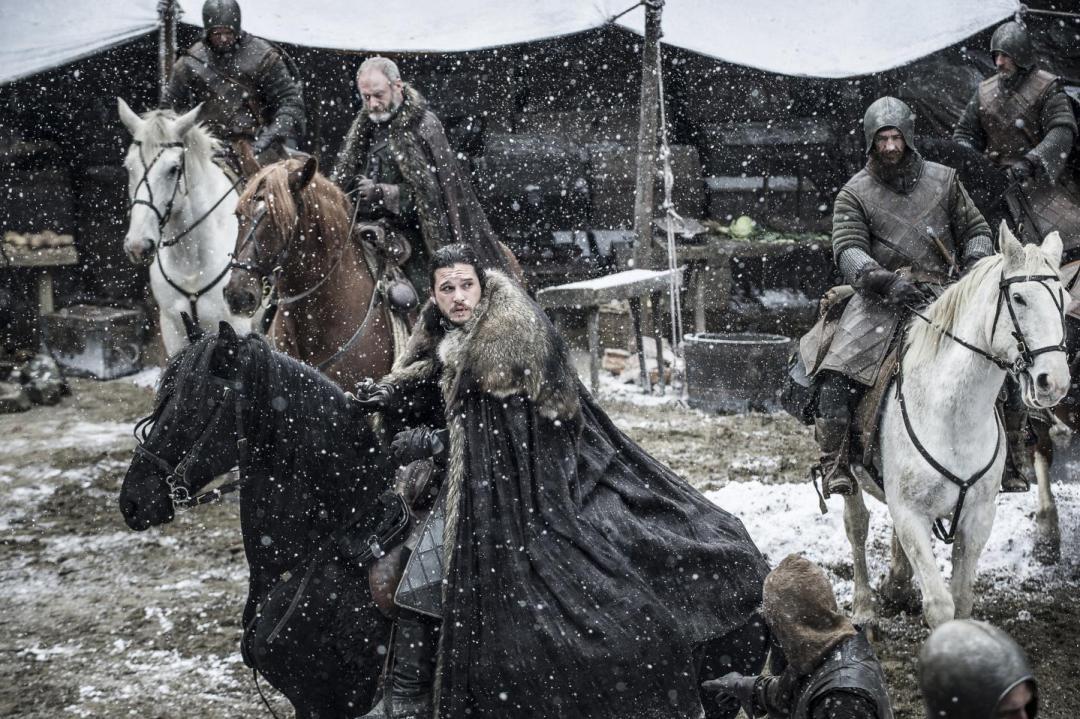 Jon Snow and Ser Davos seem in the episode Stormborn