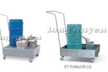 Pallet xe đẩy khay hứng dầu ST-Trolley100 trong lưu trữ công nghiệp