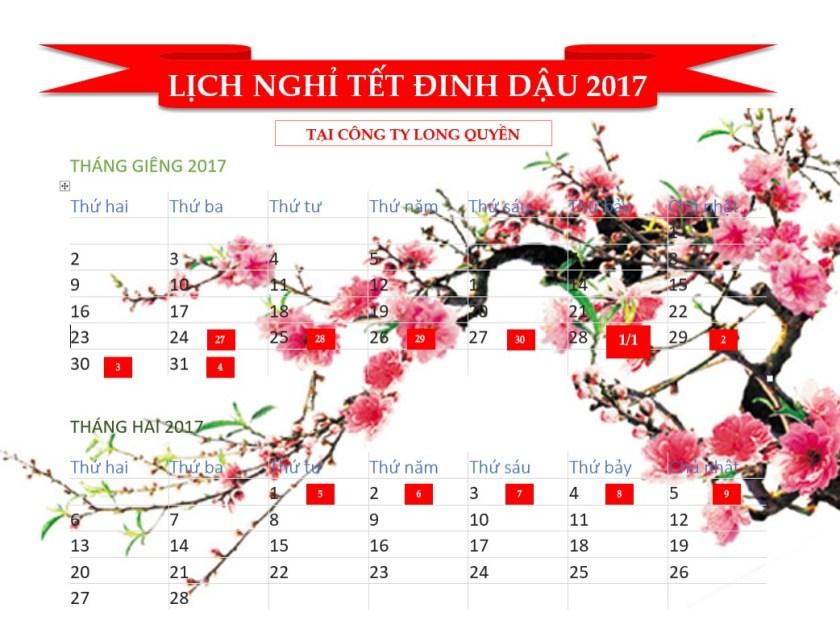Lich Nghi Tet Dinh Dau 2017