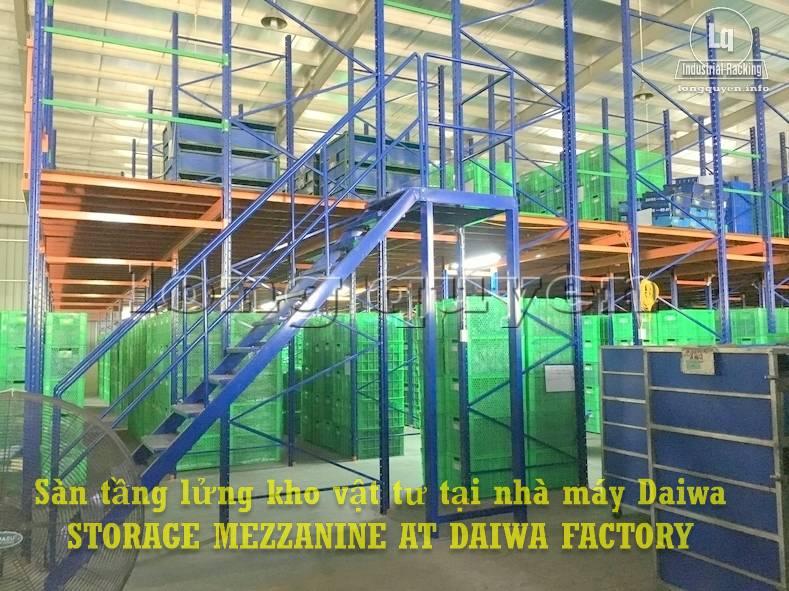 Sàn tàng lửng kho vật tư khung giá kệ pallet lắp ráp tại nhà máy DAIWA (1)