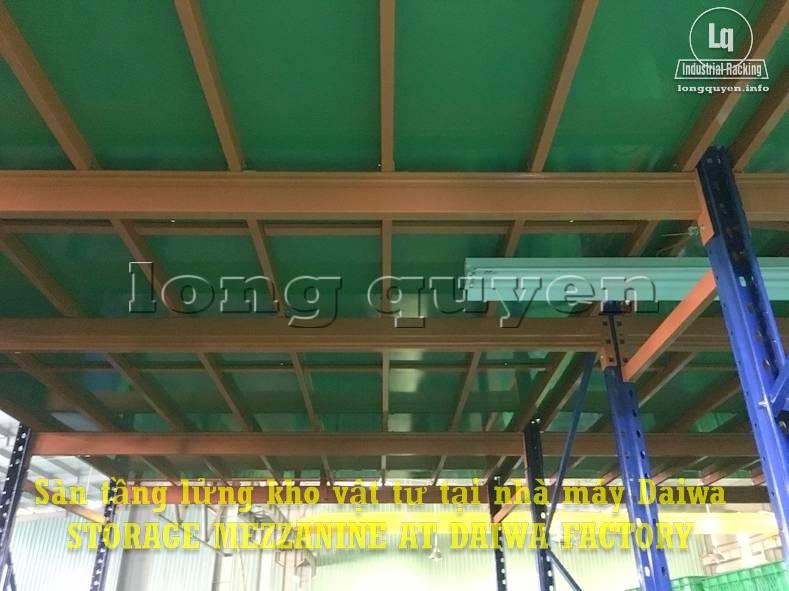 Sàn tàng lửng kho vật tư khung giá kệ pallet lắp ráp tại nhà máy DAIWA (7)