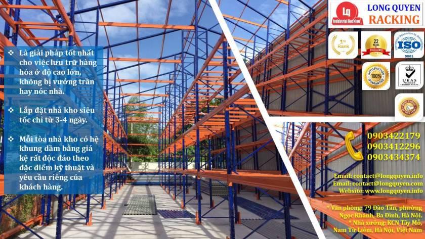 Xây dựng kho chứa hàng, khung dầm nhà bằng giá kệ sắt tại cty Âu Lạc (3)