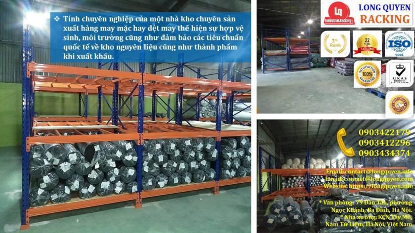 Giá kệ chứa vải cuộn kệ kho để vải công ty May Hưng Hà (4)