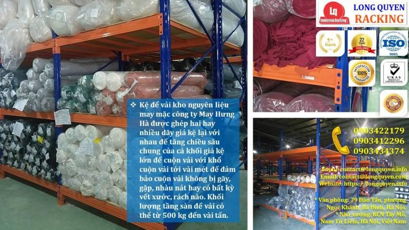 Giá kệ chứa vải cuộn kệ kho để vải công ty May Hưng Hà (5)