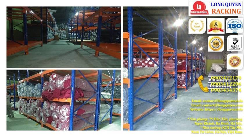 Giá kệ chứa vải cuộn kệ kho để vải công ty May Hưng Hà (8)