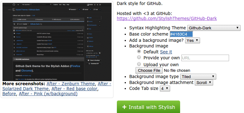 Installing the Dark GitHub Stylish Extension