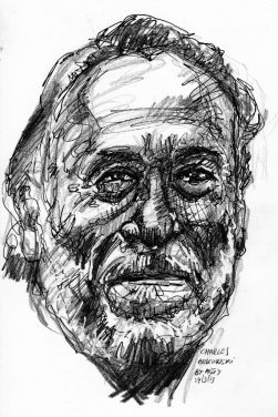 Pen and graphite black and white drawn image of Charles Bukowski's head; an older mostly bald man with a full white beard, and a mysterious but approving smile.