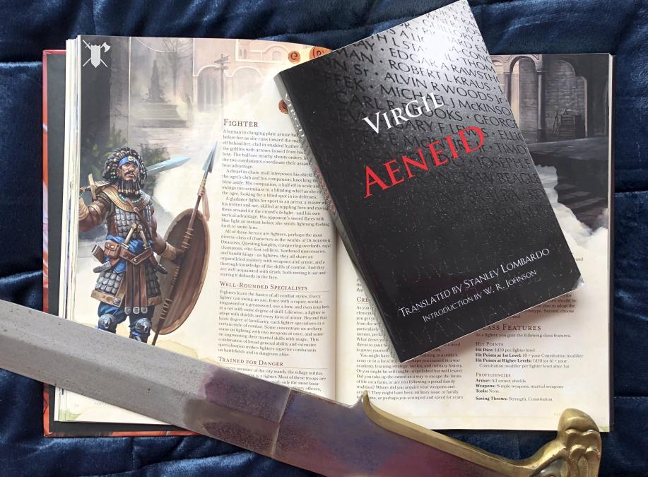Aeneid overlaid on infosource of Fighter class from Dungeons and Dragons.