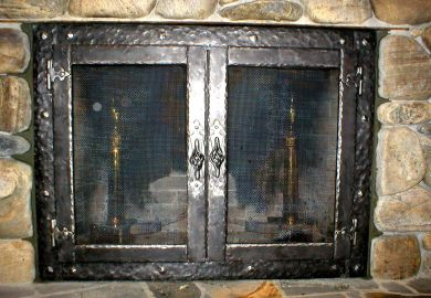 Modern Glass Fireplace Doors