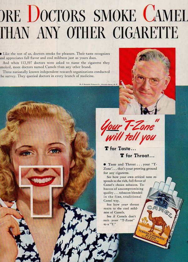 JF Ptak Science Books Discovering RED in Advertising 1942 Candy as Food and Cigarettes as Tasty