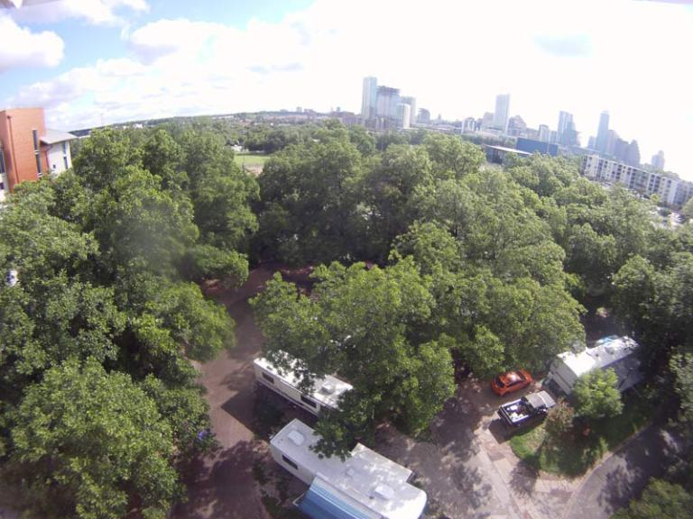 Aerial image of our RV at Pecan Grove