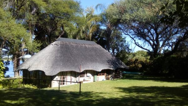 An English country home out in the African bush in Botswana.