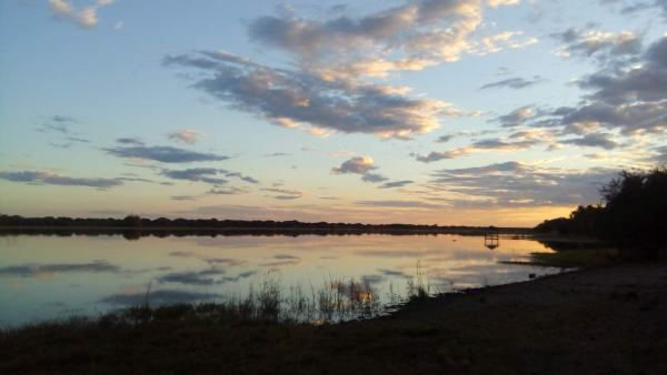 Sunset on the Boteti River, Maun, Botswana, from the bottom of our garden.